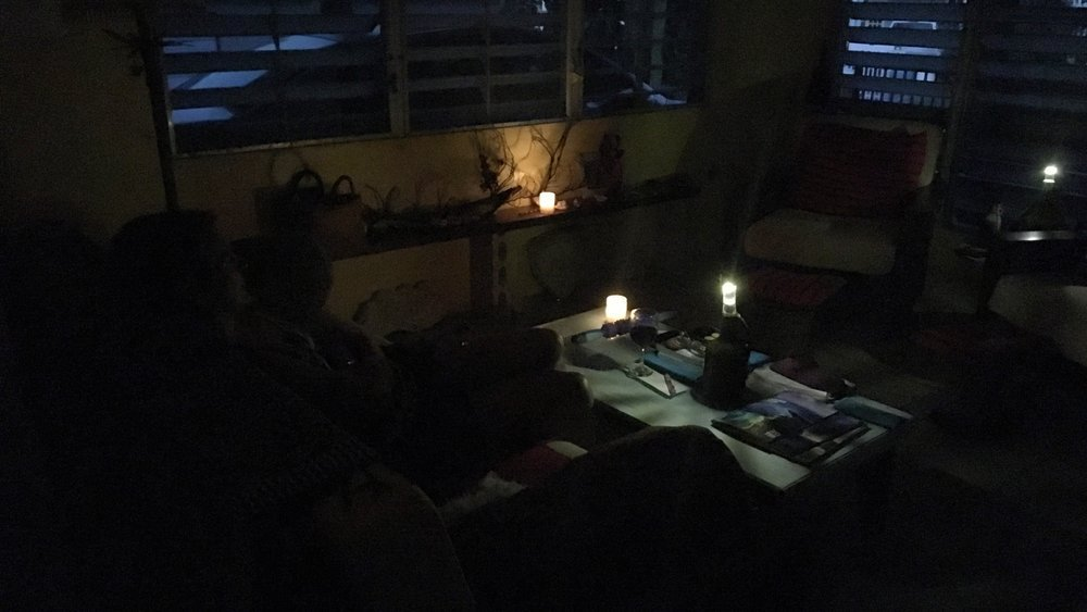 Dark living room with solar lights